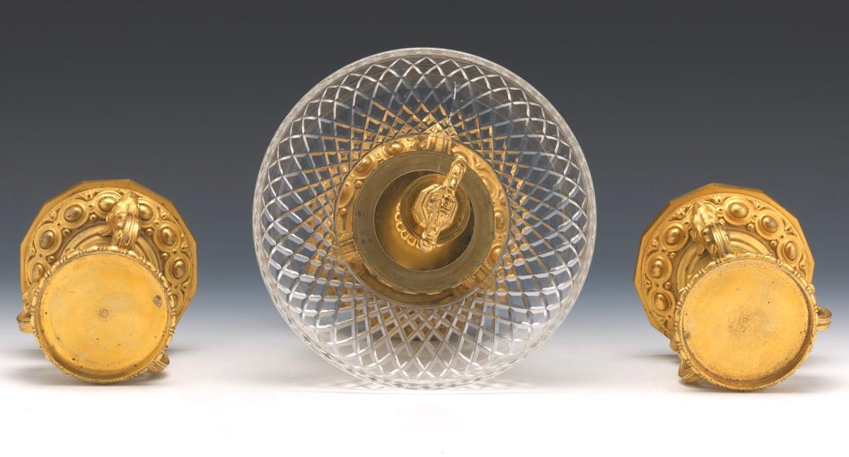 Gilt Bronze Tazza Centerpiece Set with Hunting Motif
