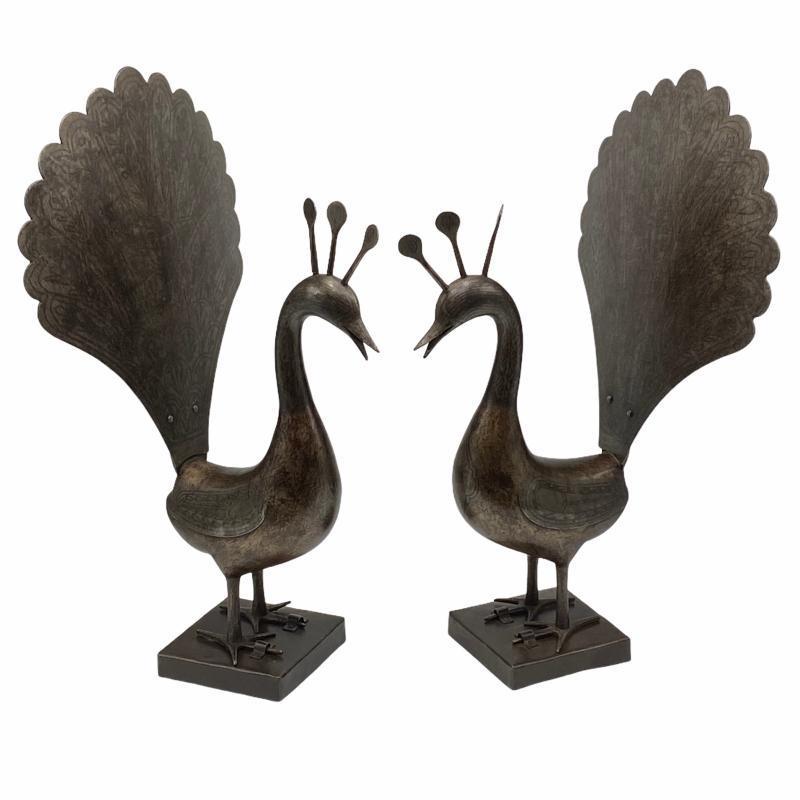 Pair Qajar Persian Peacocks