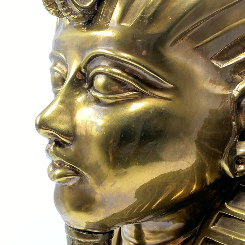 King Tut Egyptian Bronze Funeral Mask Bust After the Antique