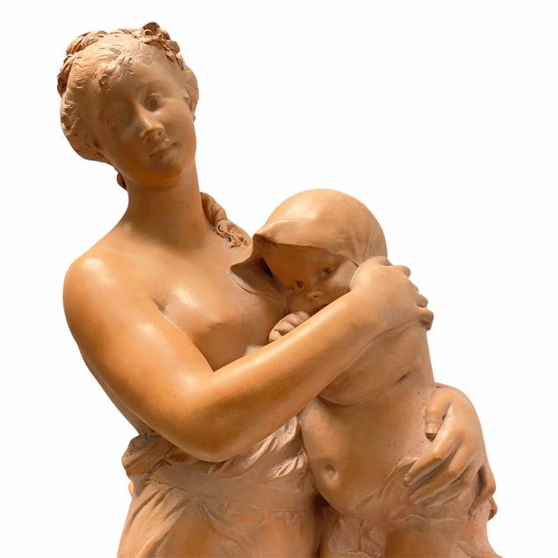 Terracotta Sculpture of Mother and Child After Benedict Rougelet (1834-1894)