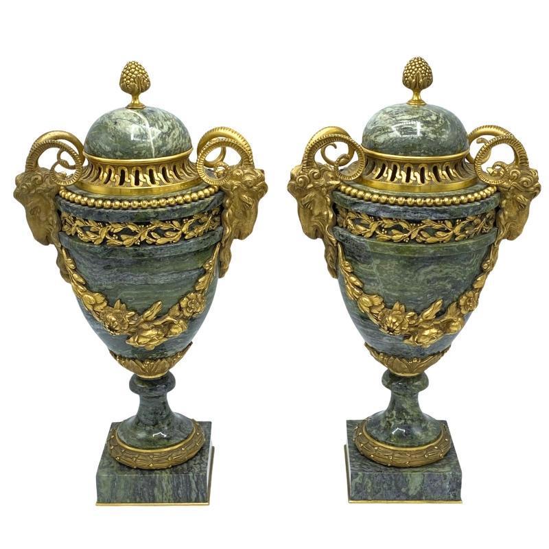 Louis XV / XVI Style Gilt Bronze & Green Marble Urns