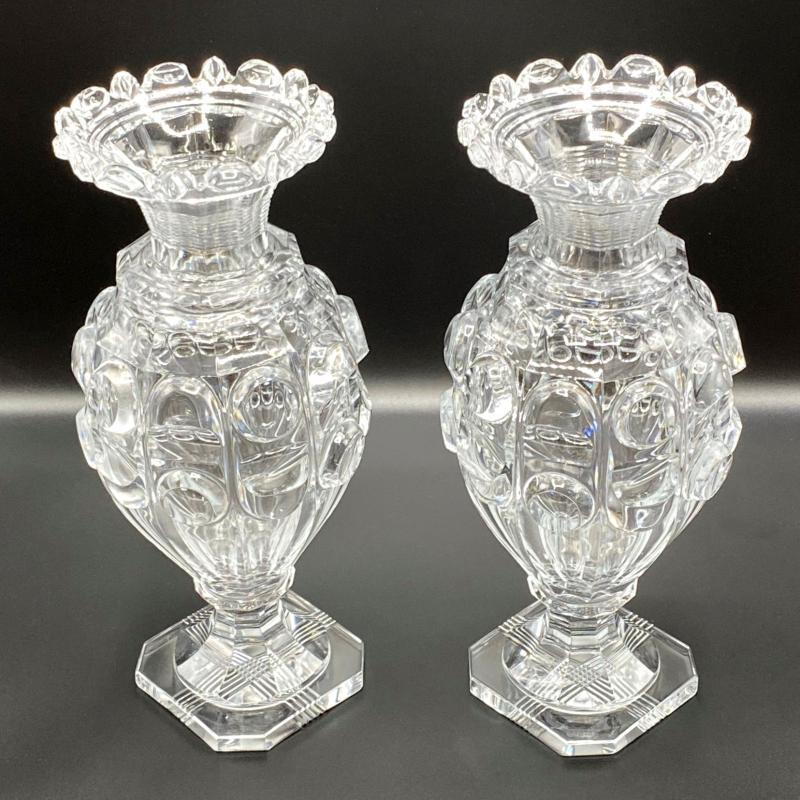 Pair Lead Crystal Glass Vases Attributed to Baccarat