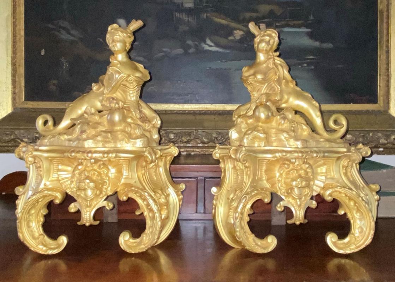 French Regence Louis XV Ormolu Bronze Chenets ( Andirons )