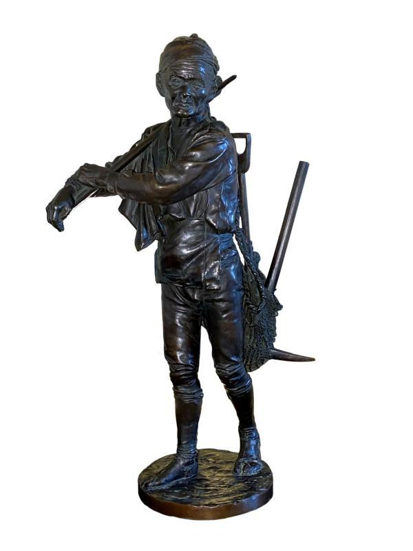 Yamazaki Wanami Japanese Meiji Period Bronze Figure of a Miner