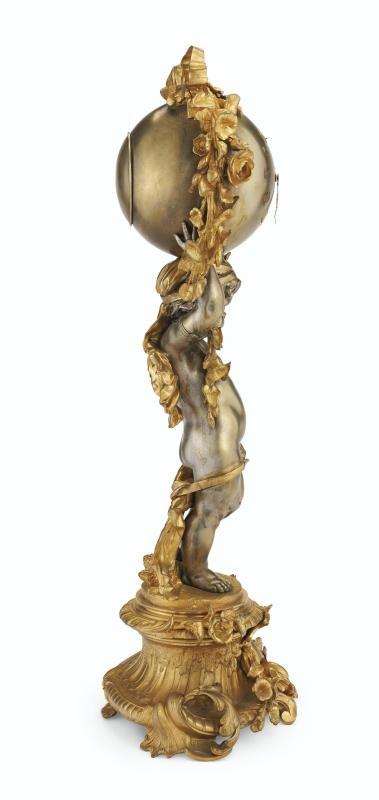 Napoleon III Ormolu and Silvered Bronze Figural Mantle Clock from Charpentier