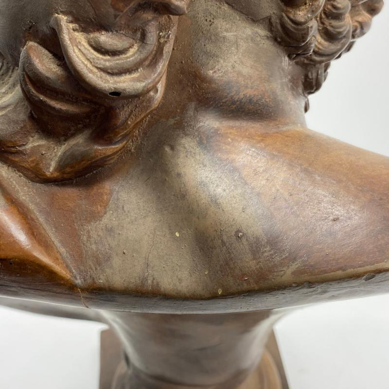 Ajax Greek Warrior Bust Sculpture in Terracotta