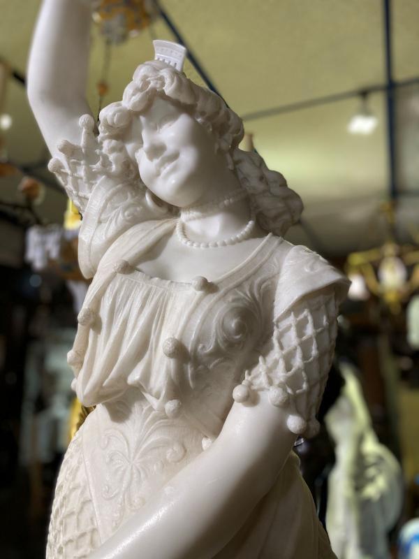 Carmen Marble Statue by Fortunato Galli (1850-1918)