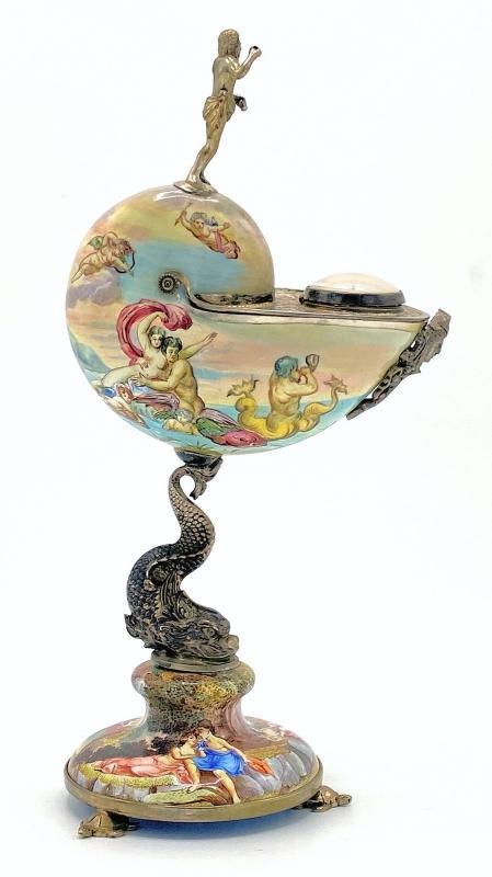 Herman Bohm (Boehm) Enamel Nautilus Shell Clock