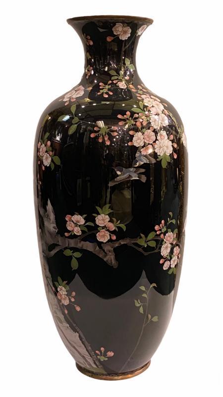 Large Japanese Cloisonne Enamel Vase -- 35 in, 89 cm