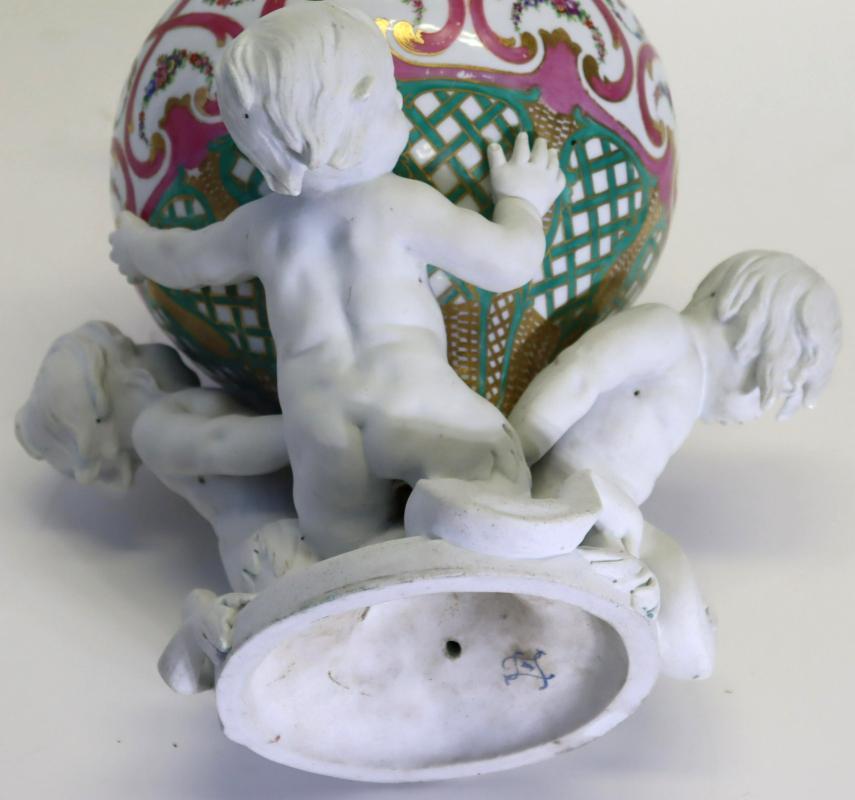 Sevres Louis XVI Style Figural Bisque and Glazed Porcelain Vase