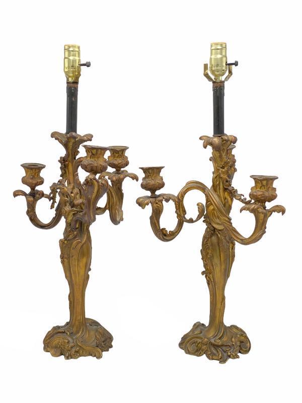Bronze Louis XV Rococo Style Candelabra Lamps