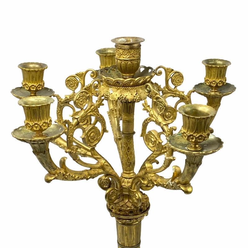 Antique Gilt Bronze Six Light Candelabra