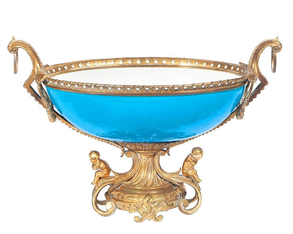 Sevres Style Bronze Mounted Turquoise Porcelain Centerpiece Bowl