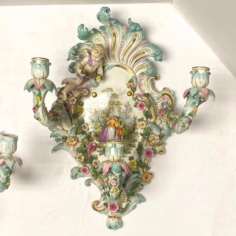 Meissen Rococo Porcelain Three-Light Sconces / Wall Appliques