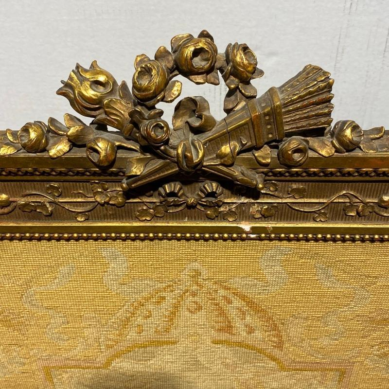 Fire Screen with Neoclassical Petit Point Embroidery in Louis XVI