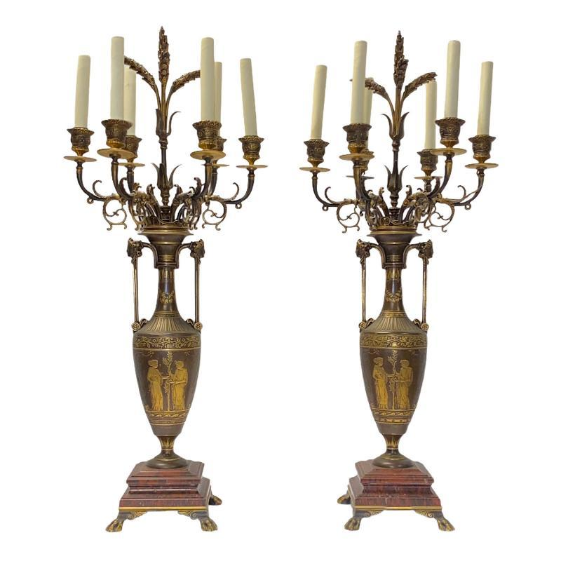 Greek Revival Bronze Candelabra Lamps