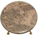 Gilt Bronze Gueridon Side Table with Stylized Swans and Variegated Grey Marble Stop