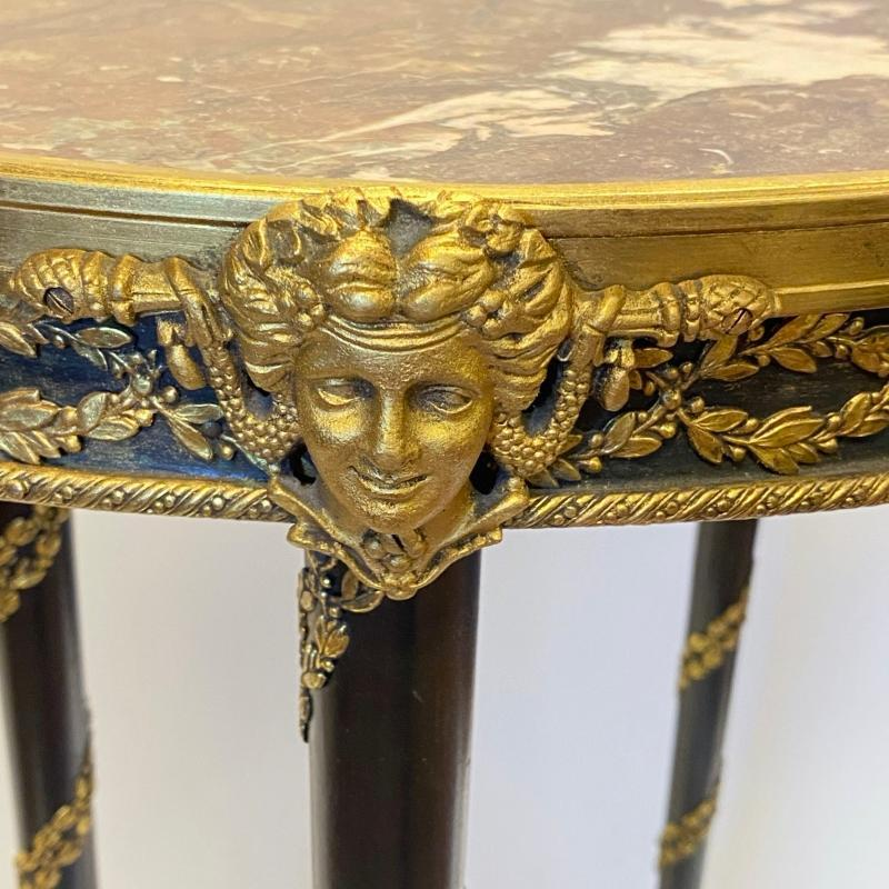 Louis XVI Style Gilt Bronze and Marble Gueridon Table