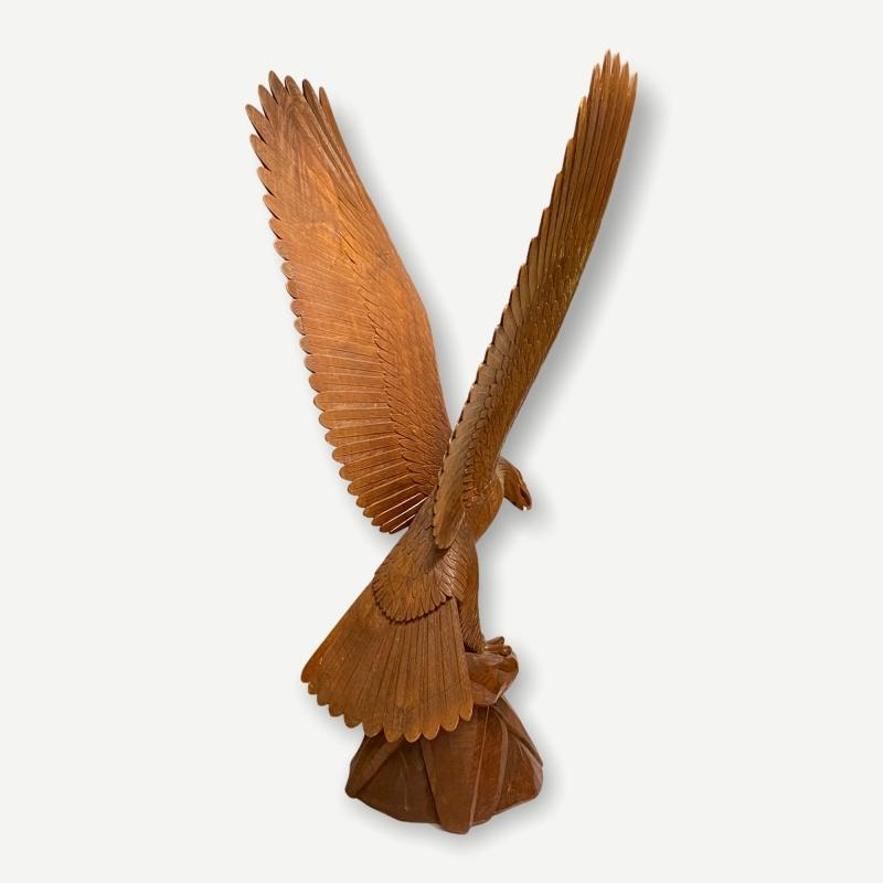 Large Carved Wooden Eagle Statue (74 in)