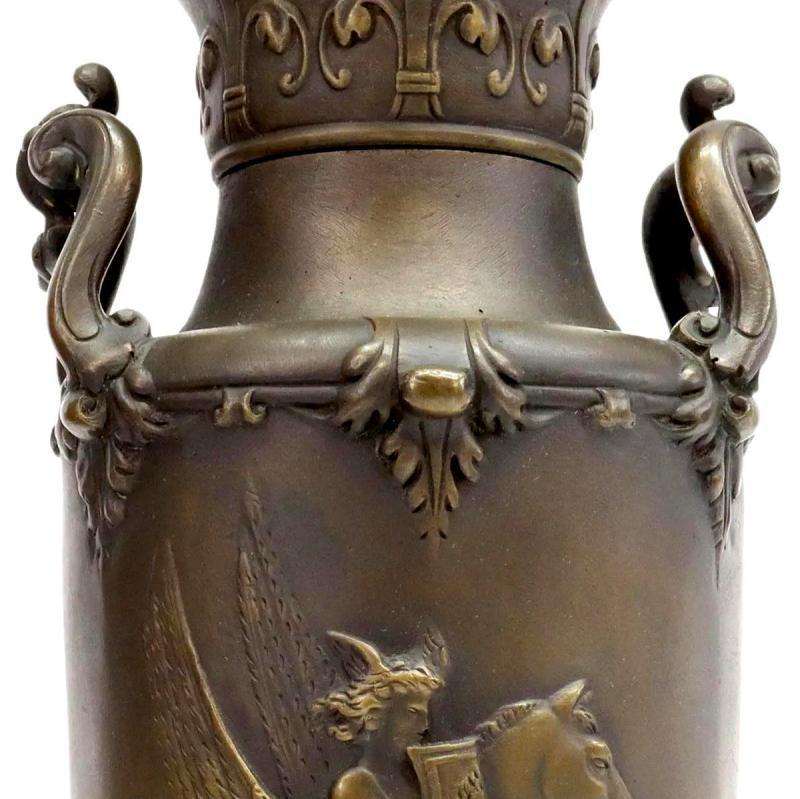 Greek Revival Bronze Vases After Leon Boucher