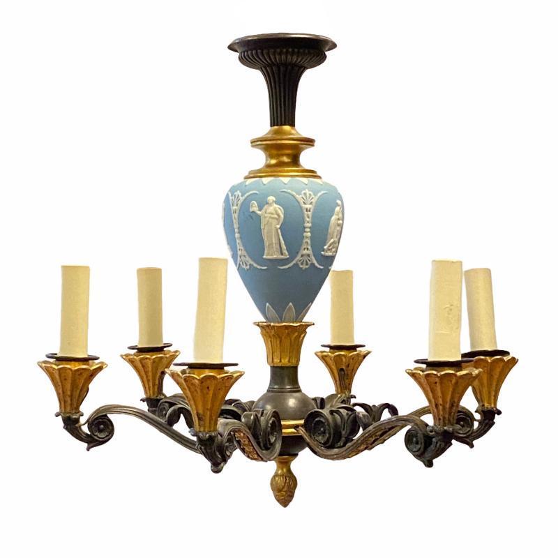 Pair Wedgwood Jasperware Porcelain and Bronze Chandeliers