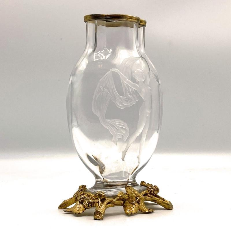 Art Nouveau Figural Engraved Crystal Glass Vase Attributed to Baccarat