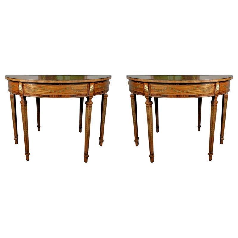 Pair Georgian Style Demilune Console Tables