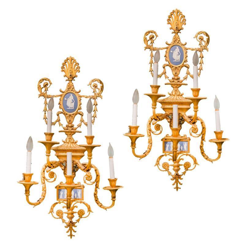 Pair Louis XVI Style Gilt Bronze and Wedgwood Jasperware Sconces