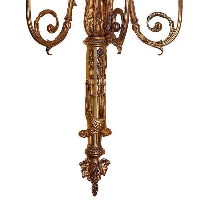 Louis XVI Gilt Bronze Three-Light Sconces
