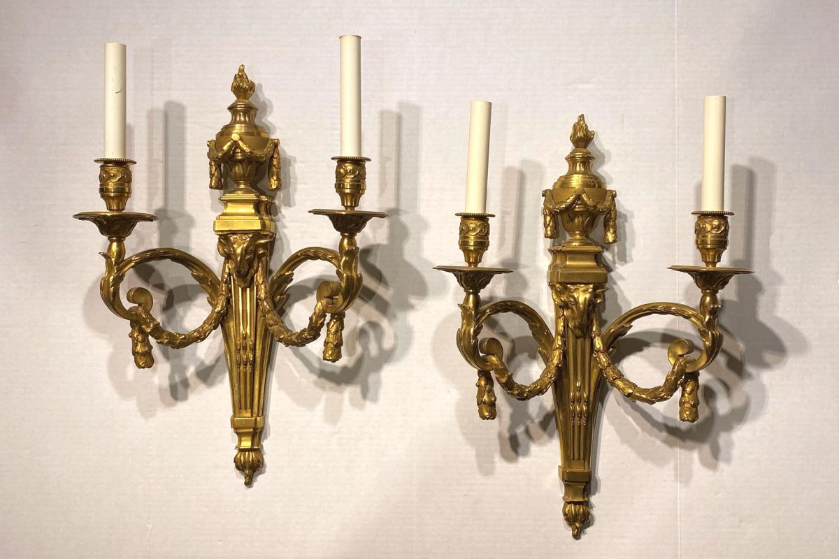 Pair Louis XVI Style Gilt Bronze Sconces After Jean Delafosse