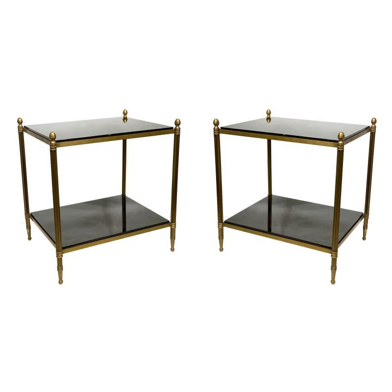 Pair Mid-Century Modern Bronze and Granite End Tables