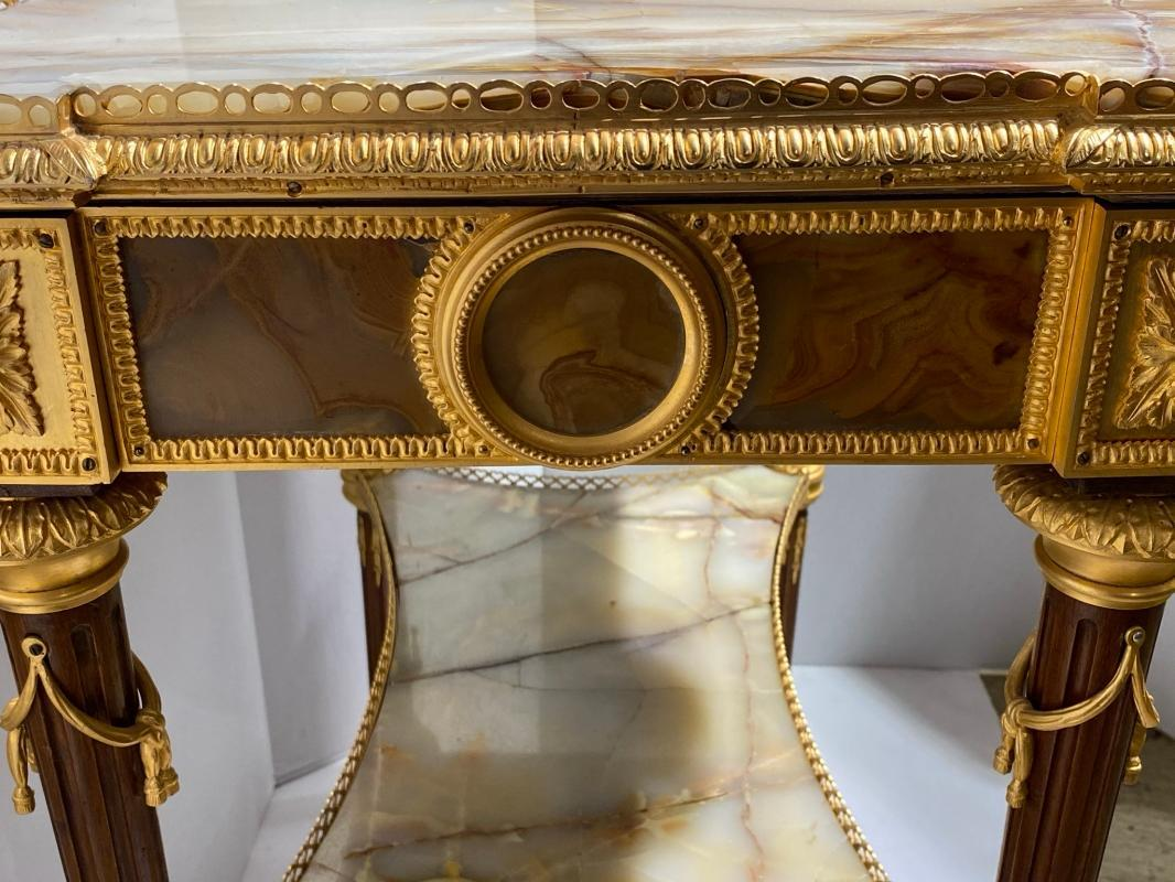 Louis XVI Style Bronze and Onyx Side Table