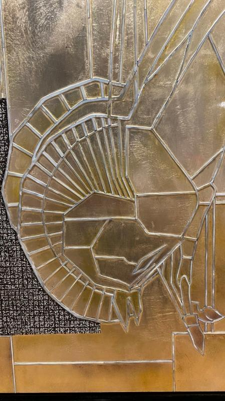 Art Deco Lacquered and Gilded Bas Relief Plaque After Emile-Jacques Ruhlmann