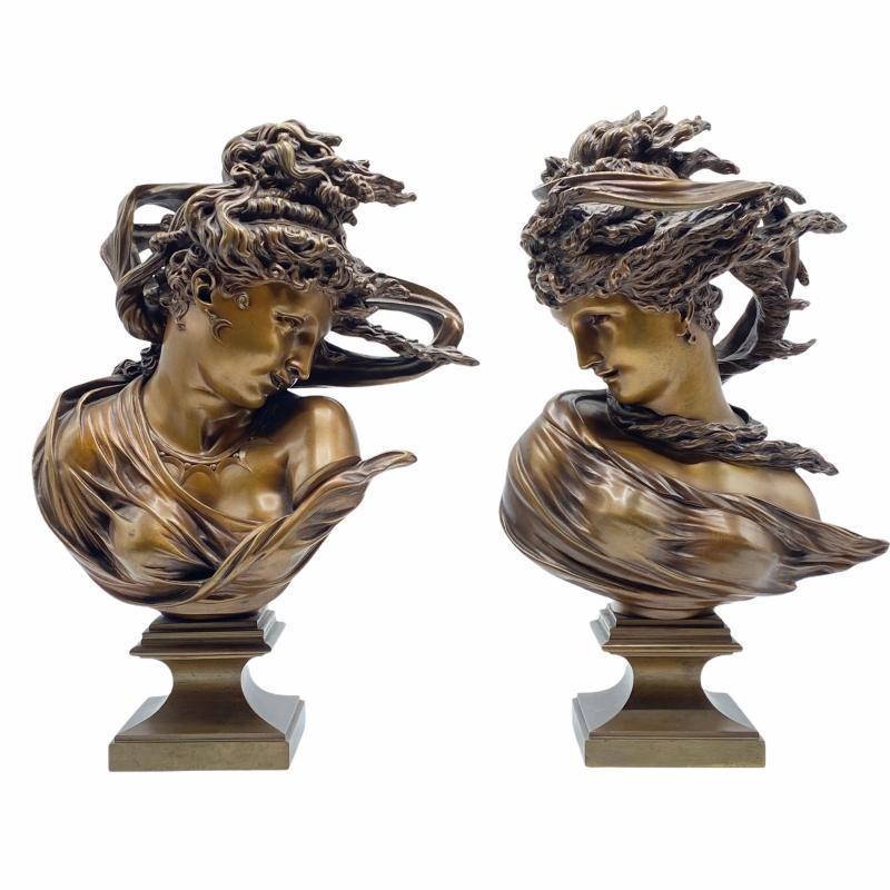 A.D. Saibas Windblown Female Bronze Busts