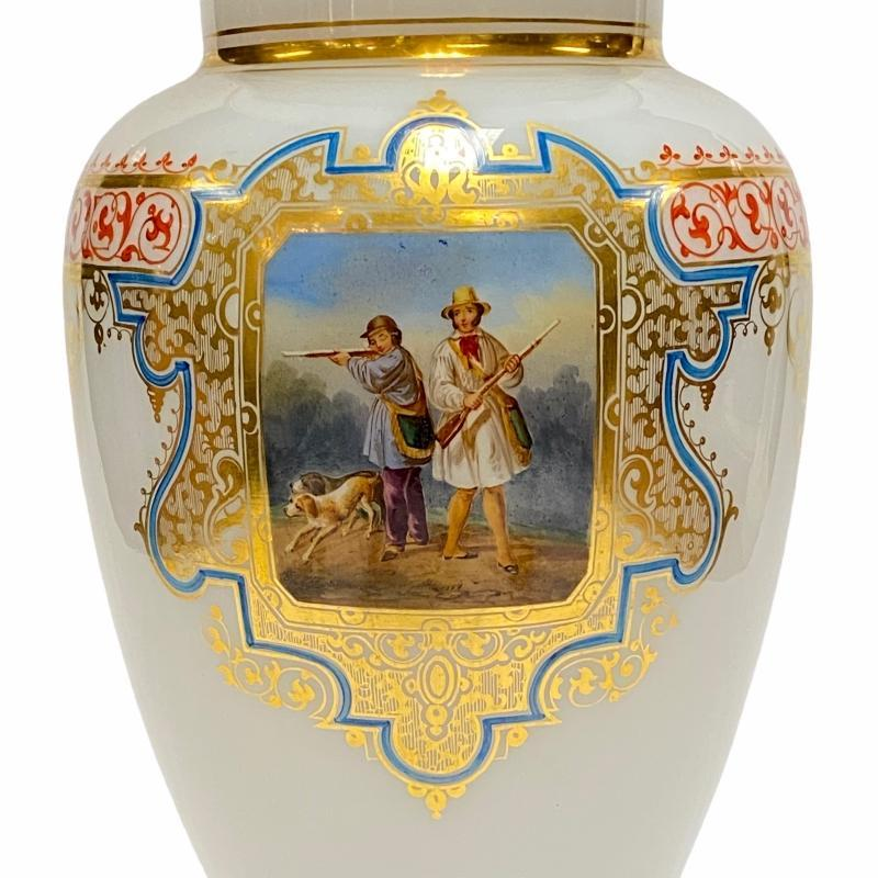 Antique Gilt Glass Vase with Painted Hunting Scene