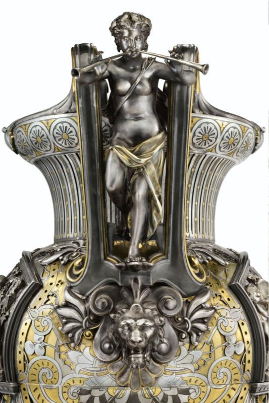 Boucheron Parcel Gilt Silver Vase and Oil Lamp c1880