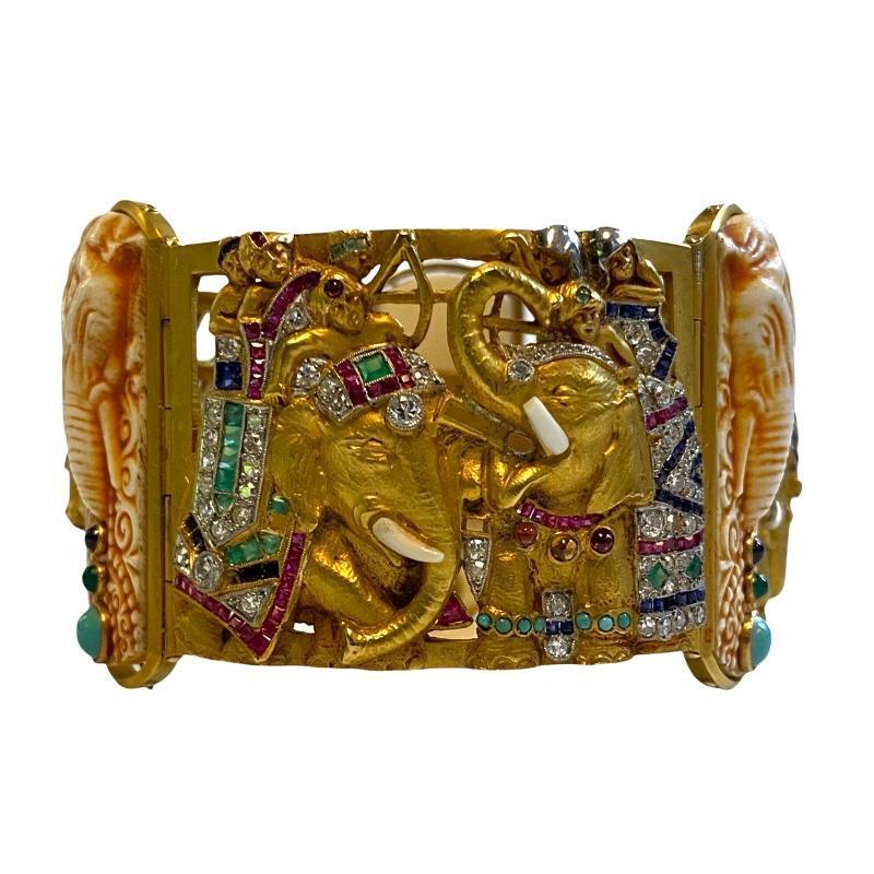 Fuset y Grau Attr. Gold Gem-Set and Diamond Bracelet with Indian Motifs