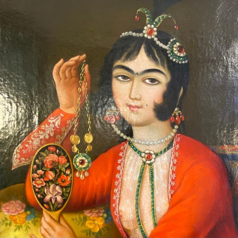 Qajar Persian Female Portrait on Canvas