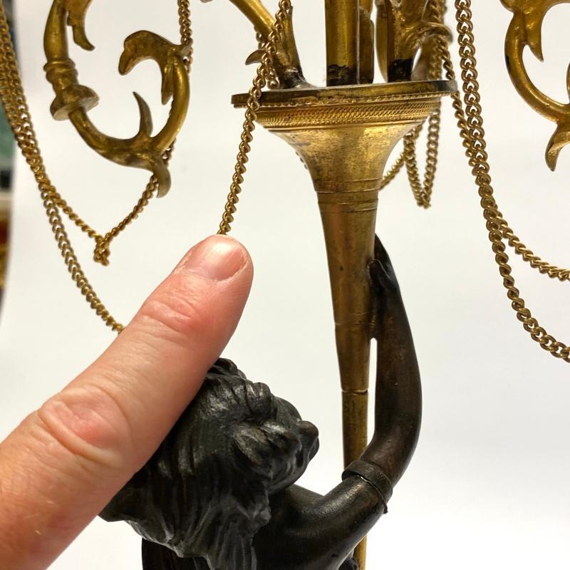 Louis XVI 18th Century Bronze Figural Candelabra