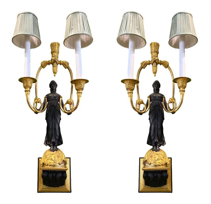 Empire Style Ormolu Bronze Figural Sconces