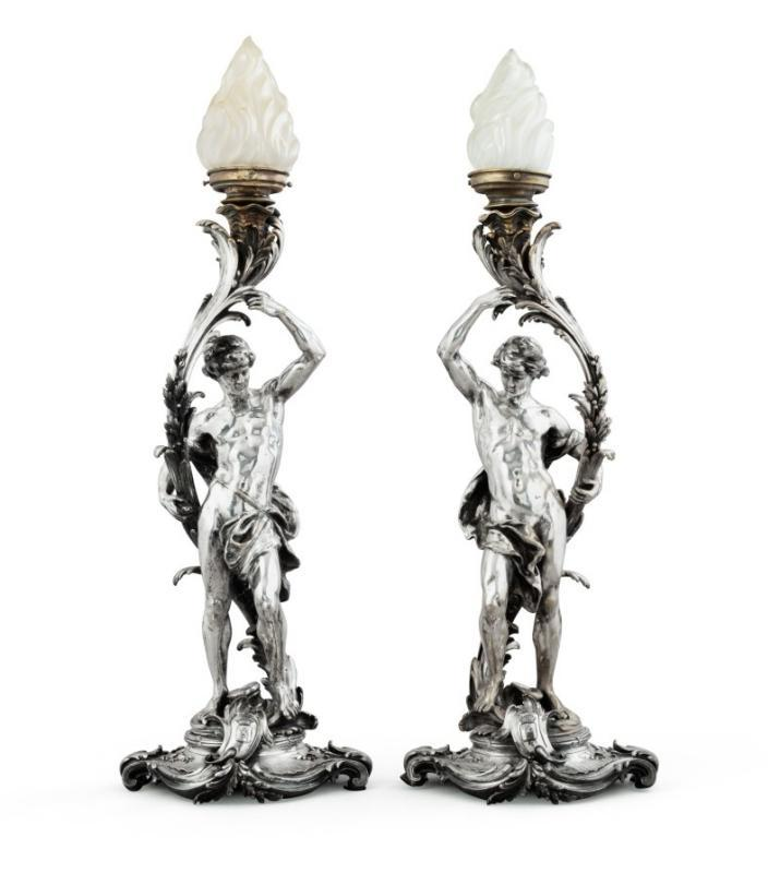 Christofle Silverplated Bronze Candleholders with Royal Provenance