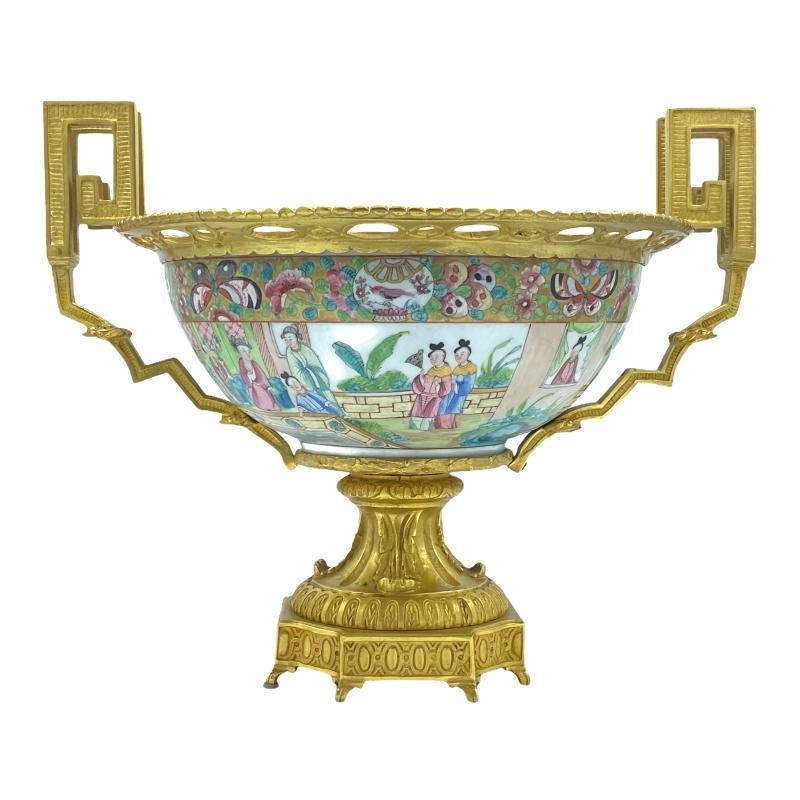Rose Medallion Porcelain Bronze Mounted Centerpiece Bowl