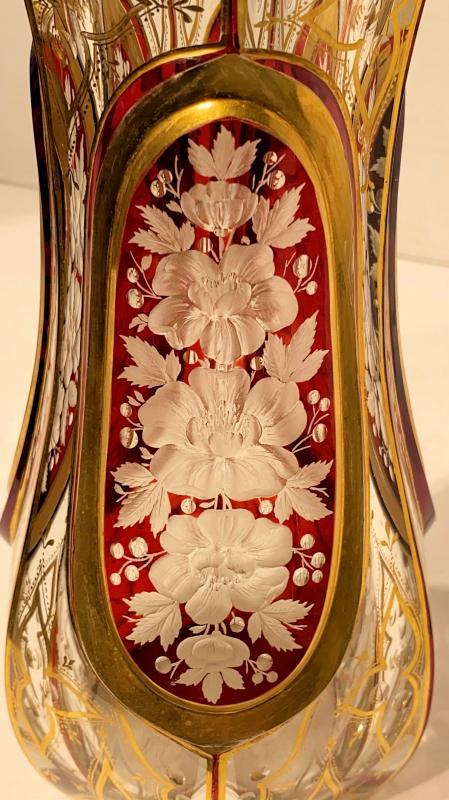 Moser Attributed Engraved and Gilt Glass Vase