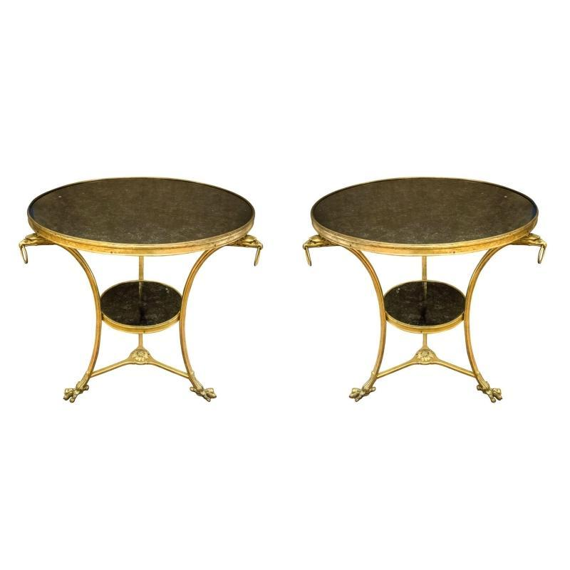 Pair French Empire Style Bronze and Marble Gueridon Center Table