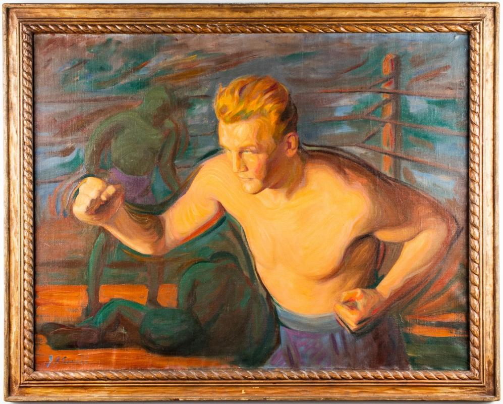 Joseph Goss Cowell (1886-1968) Oil Painting of a Boxer