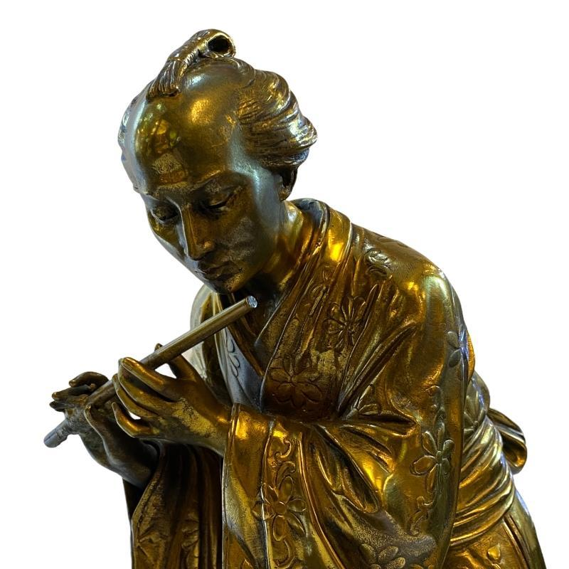 Eugene Laurent (1832-1898) Japonisme Gilt Bronze Figures