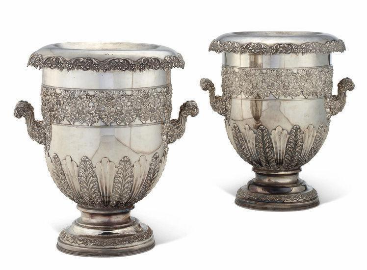Huge George IV Sheffield Plate Champagne Buckets -- 25 in, 63.5
