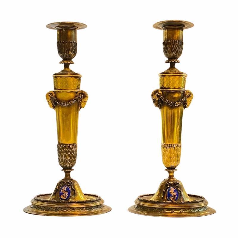 Pair Scottish Enameled and Gilt Candlesticks