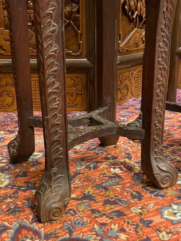Pair Chinese Carved Teak and Marble Stands