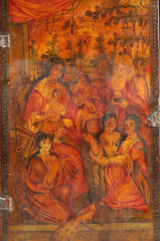 Qajar Persian Papier Mache Mirror and Case